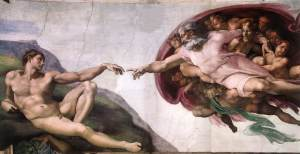 "Michelangelo's ""God Touching Adam"" segment of the Sistine Chapel Ceiling"