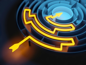 Abstract Circular Maze whit Glowing Solution Path